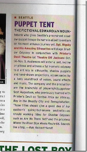 Clipping from American Theatre about Shadow Odyssey