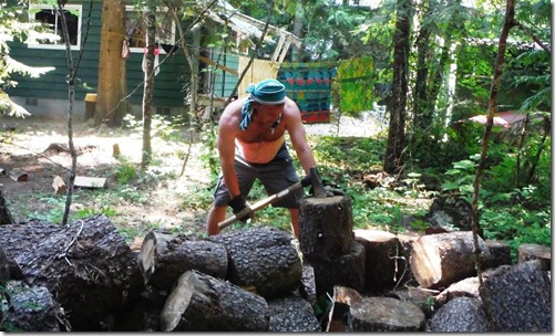 Paul Chopping wood out at the Lake Cabin